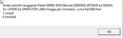 xl R 1.500 dapat 975 sms ke xl dan 25 ke op lain