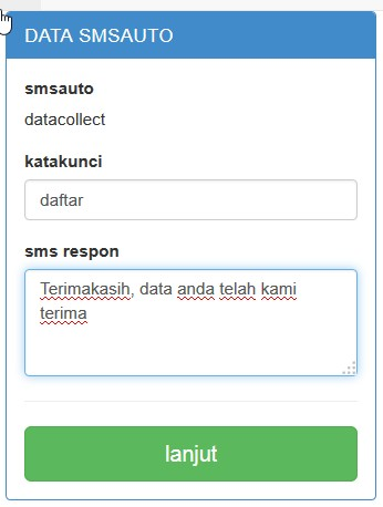 form membuat sms data collect baru