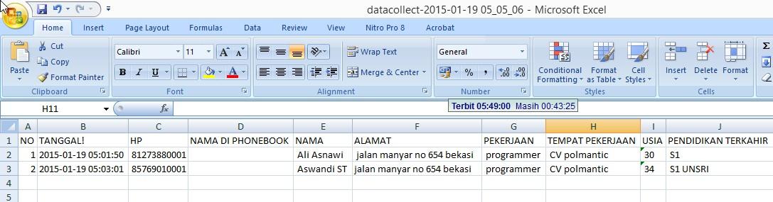 sms datacollect export ke excel