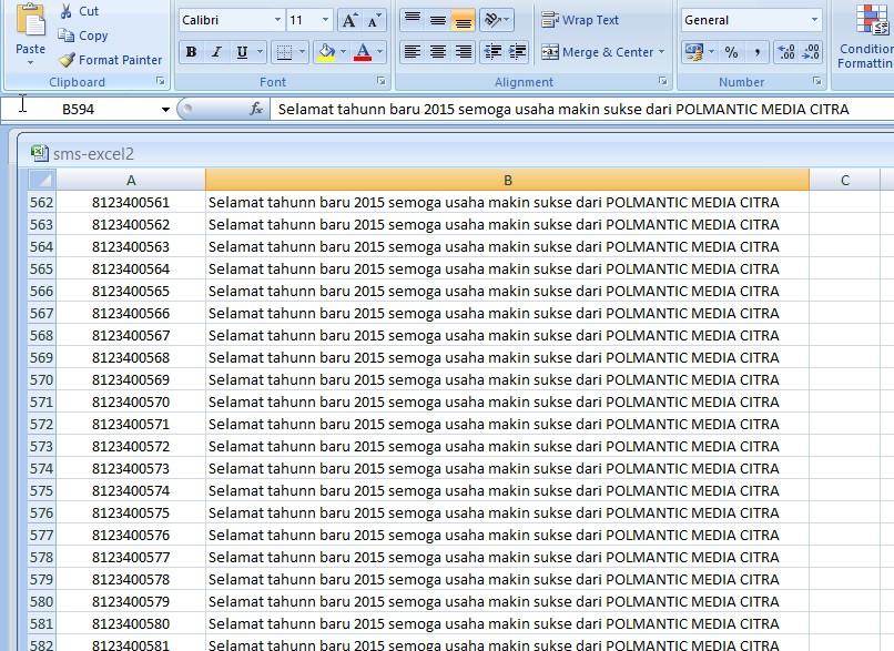 SMS CENTER - kirim sms dari file Excel